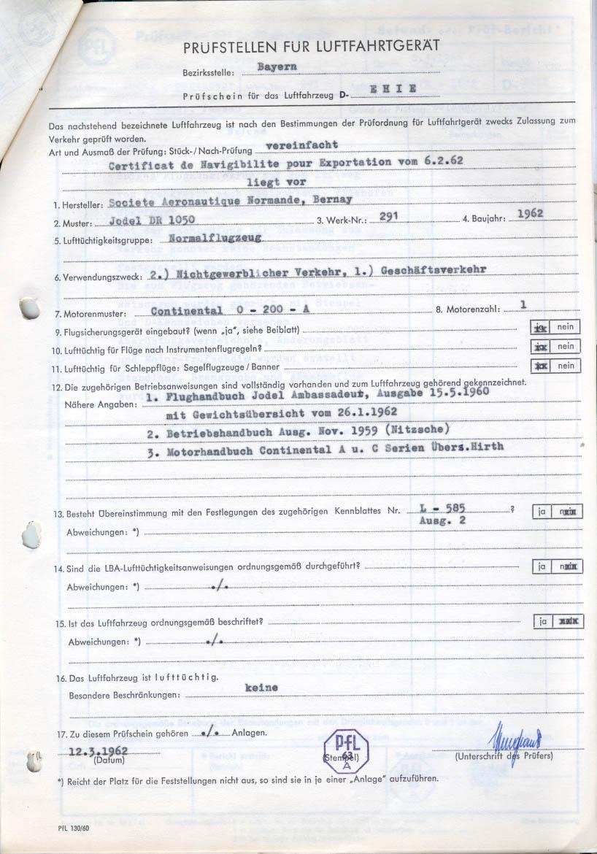 1962 jodel ambassadeur d ehie history part 1 for Bureau 2a form